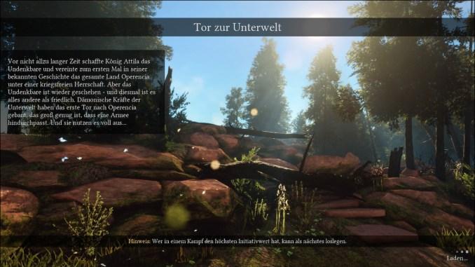 """Das Bild zeigt den Ladescreen des Prologs samt Textbox, welche die Geschichte von """"Operencia: The Stolen Sun"""" erläutert."""