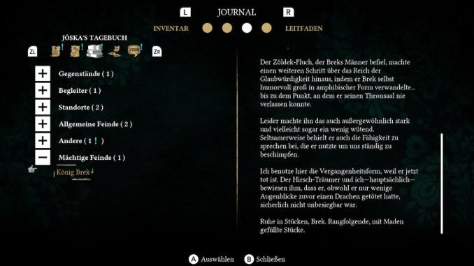 Das Bild zeigt das Journal, in welchem viele Informationen der Spielwelt gebündelt sind. Zu sehen ist Jóskas Tagebuch.
