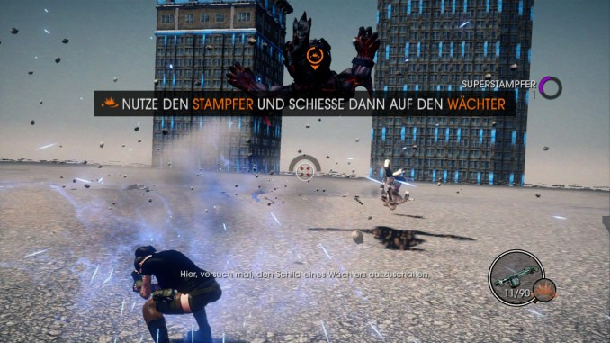Das Bild zeigt den Spieler in einer Art Tutorial, in dem er den Umgang mit einer neuen Fähigkeit erlernt.