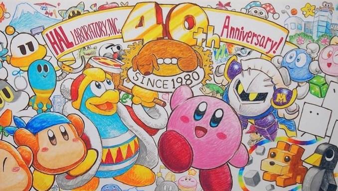 Das Bild zeigt die wichtigsten Charaktere der Kirby-Reihe im Artwork.