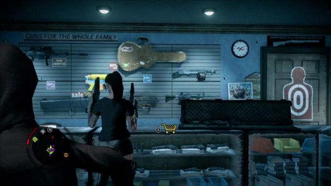 Das Bild zeigt den Spieler in einem Waffenladen.
