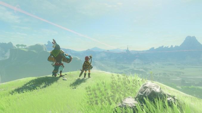 Breath of the Wild – Dieses Bild zeigt Link und einen Orni am Ende des Ballade der Recken DLCs.