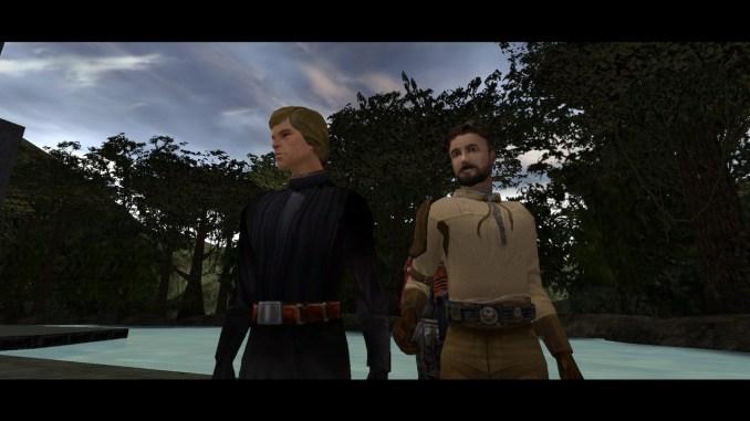 Jedi Academy: Auf diesem Bild seht ihr Kyle Katarn und Luke Skywalker in einer Zwischensequenz reden