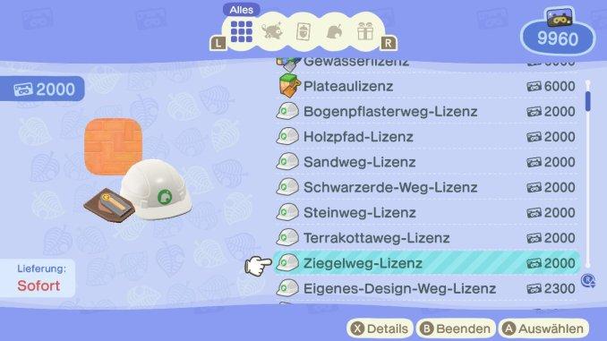 Dieses Bild zeigt die Kosten für die Baulizenz in Animal Crossing.