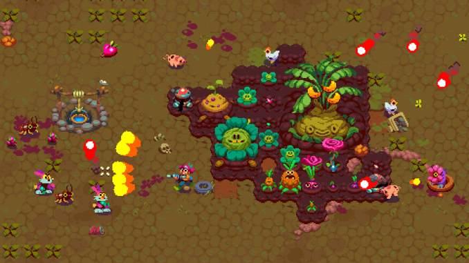 """Das Bild zeigt eine Farm in """"Atomicrops"""". Die Farmerin verteidigt ihre Pflanzen gegen die Monster."""