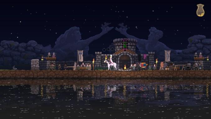 """Das Bild zeigt eine ausgebaute Siedlung aus dem Spiel """"Kingdom Two Crowns""""."""