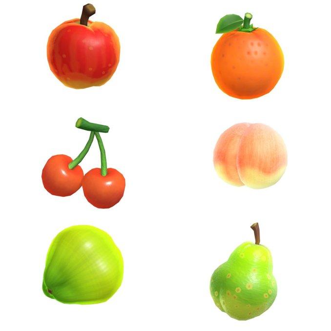 """Das Bild zeigt alle Früchte in """"Animal Crossing New Horizons"""". Sie wachsen an Bäumen Palmen oder Gräsern."""