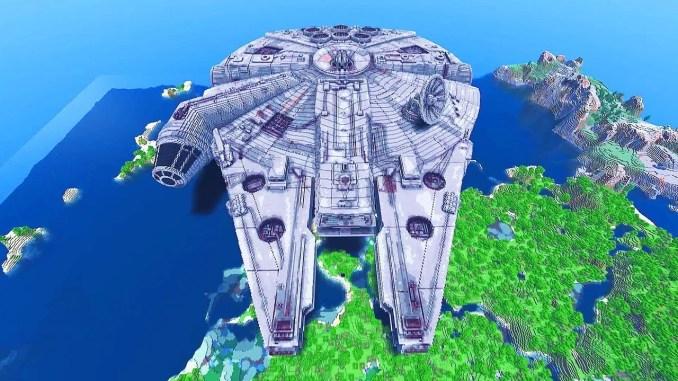 Sandbox-Spiele – Das Bild zeigt einen Millenium Falcon, der in Minecraft nachgebaut wurde!