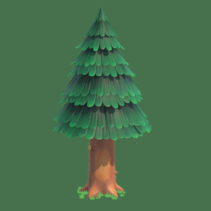 """Das Bild zeigt einen Nadelbaum in """"Animal Crossing: New Leaf""""-Design. Er erinnert an einen Weihnachtsbaum."""