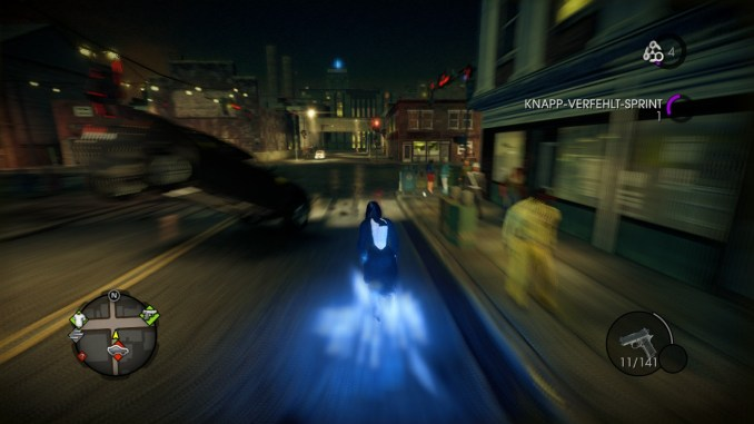 Das Bild zeigt den Spieler, wie er in Höchstgeschwindigkeit durch die Straßen von Steelport läuft.