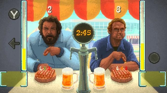 """Das Bild zeigt uns eines der Zwischenspielchen in """"Slaps and Beans"""". Hier das Würstchen-Wettessen."""