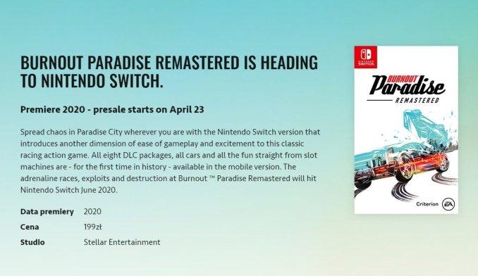 """Das Bild zeigt einen Produkteintrag von """"Burnout Paradise Remastered"""" auf der polnischen Website von EA."""