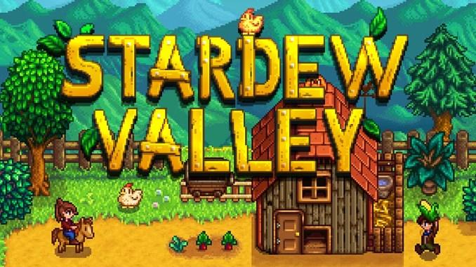 Zu sehen ist der Startbildschirm von Stardew Valley mit dem Schriftzug.