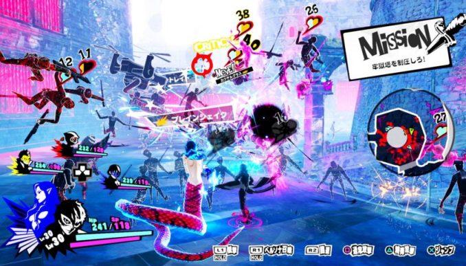 """Das Bild zeigt das Kampfgeschehen in """"Persona 5 Scramble""""."""
