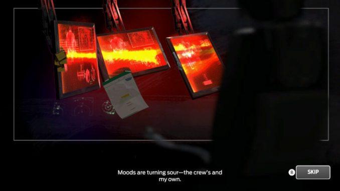 Das Bild zeigt eine Zwischensequenz. Einige Monitore sind zu sehen.