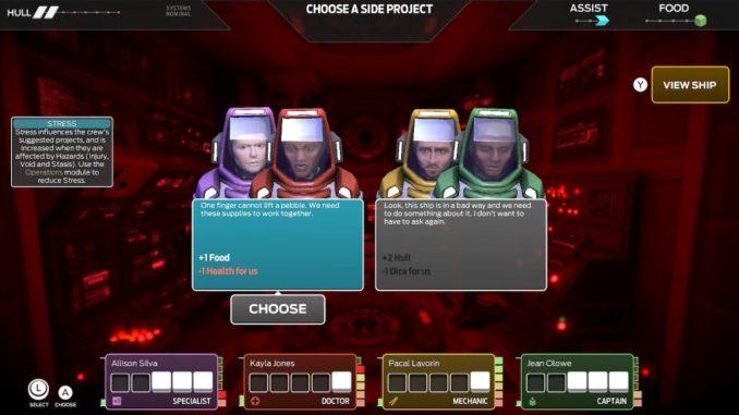 Das bild zeigt die Crew der Iktomi. Zwei Textboxen zeigen die Vorschläge der Crew zum weiteren Vorgehen.