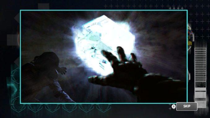 Das Bild zeigt eine Zwischensequenz. Zu sehen sind zwei Astronauten, die ihre Hände zu einer großen Lichtquelle ausstrecken.