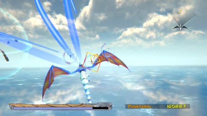 Das Bild zeigt Panzer Dragoon: Episode 0. Der Drache verschießt einen Aufladeschuss auf dem Meer.