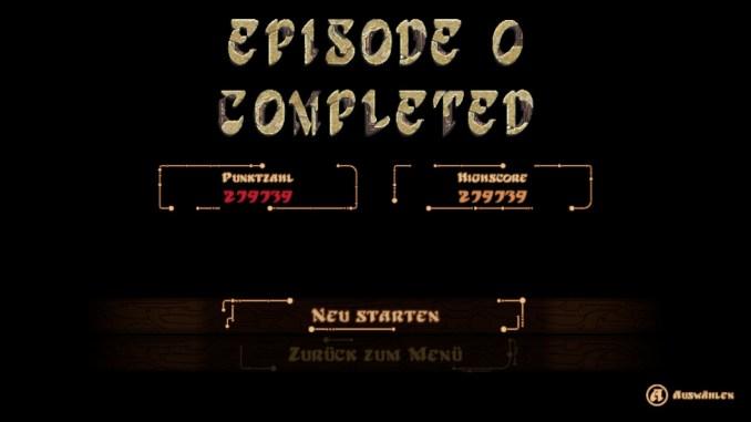 Das Bild zeigt eine Endwertung aus Panzer Dragoon: Episode 0.