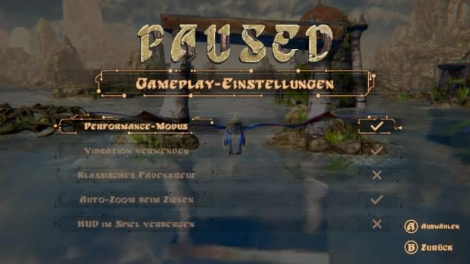 """Das Bild zeigt die Gameplay-Einstellungen und speziell den Punkt """"Performance-Modus""""."""