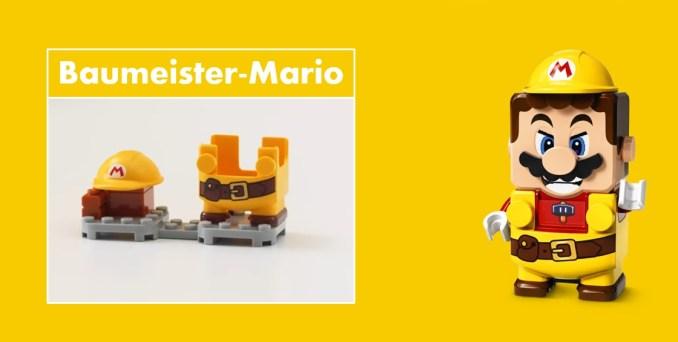 Das Bild zeigt LEGO Super Mario mit Baumeister-Anzug.