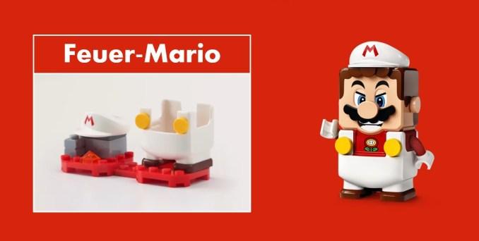 Das Bild zeigt LEGO Super Mario mit Feuer-Anzug.