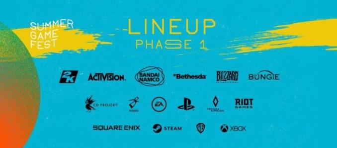 """Das Bild zeigt das Lineup für Phase 1 des """"Summer Game Fest""""."""