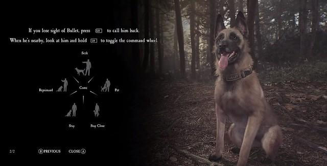 """Das Bild zeigt die Befehle, welche der Hund in """"Blair Witch"""" ausführen kann."""