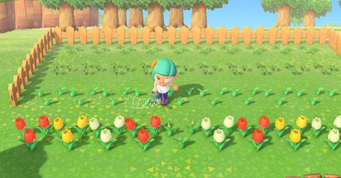 """Das Bild zeigt einen Charakter aus """"Animal Crossing: New Horizons"""" welcher seine Tulpen gießt.  Das sind die Startblumen in seiner Welt."""
