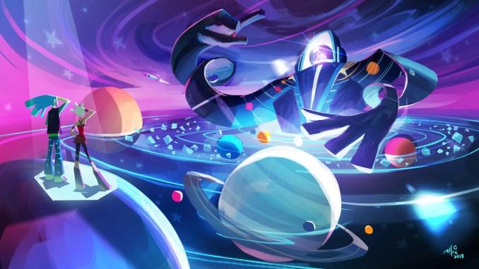 """Das Bild zeigt eine Szene aus dem Spiel """"No Straight Roads"""". Das Design ist an den Weltraum angelehnt."""