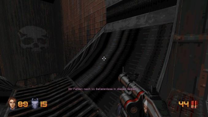 """Das Bild zeigt eine Warnung in """"Ion Fury""""."""
