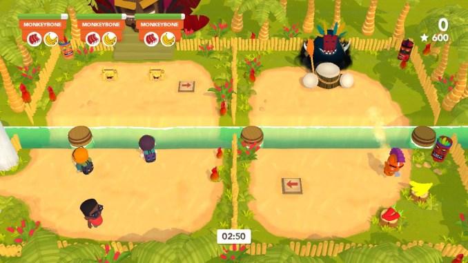 """Das Bild zeigt einen Kannibalen aus dem Spiel """"Cannibal Cuisine"""". Er ist gerade mit der Fähigkeit Sprint über einen Fluss gesprungen."""