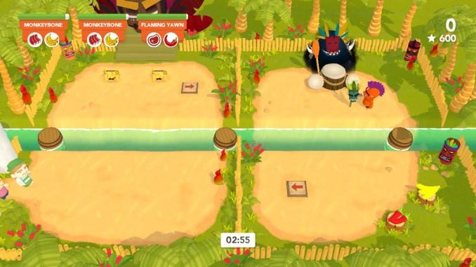 """Das Bild zeigt eine Runde in """"Cannibal Cuisine"""". Der orangefarbene Kannibale hat einen Totem direkt vor dem Gott Hoochooboo aufgestellt."""