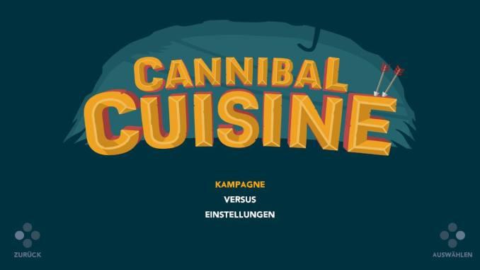 """Das Bild zeigt die drei Auswahlmöglichkeiten in """"Cannibal Cuisine"""". Zur Wahl stehen Kampagne, Versus oder Einstellungen."""