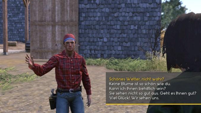 Das Bild zeigt eine Konversation mit einem der Charaktere.