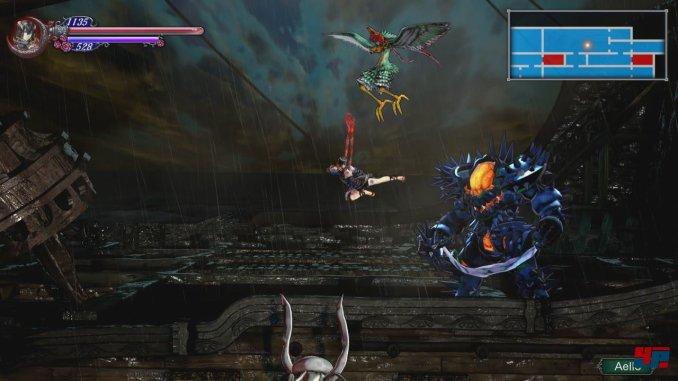 """Das Bild zeigt einen Kampf in dem Spiel """"Bloodstained: Ritual of the Night""""."""