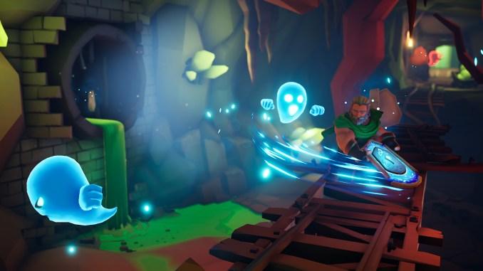 """Das Bild zeigt Galand, den Helden des Spiels """"Effie"""", wie er mit seinem magischen Schild Geister jagt."""