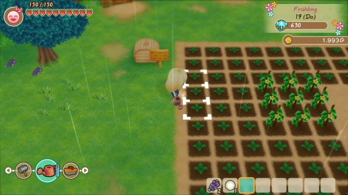"""Das Bild zeigt meinen Charakter in """"Story of Seasons: Friends of Mineral Town"""", welcher das Feld gießt."""