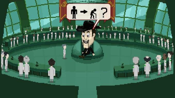 """Das Bild zeigt eine Szene aus dem Spiel """"I dream of you and ice cream"""". Man erkennt einen riesigen, schweben Kopf, welcher mit Symbolen in einer Sprechblase kommuniziert."""