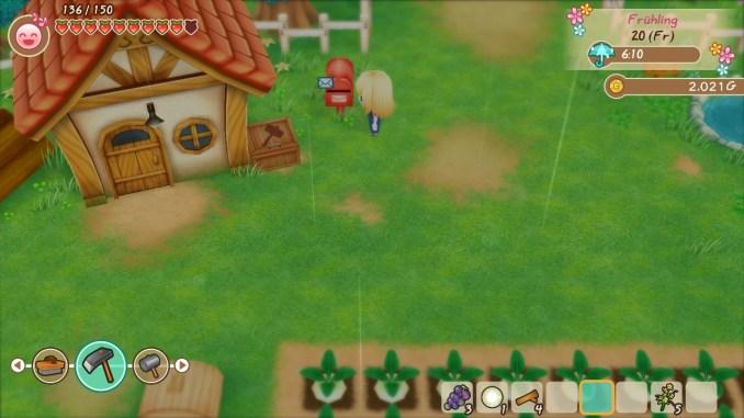 """Das Bild zeigt meinen Charakter in """"Story of Seasons: Friends of Mineral Town"""" vor dem Briefkasten stehend."""