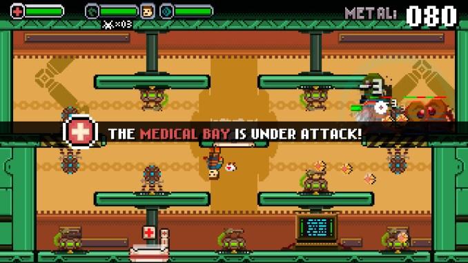"""Das Bild zeigt ein Level aus dem Spiel """"Spacejacked"""". Das Krankenzimmer steht unter Beschuss durch die Aliens."""