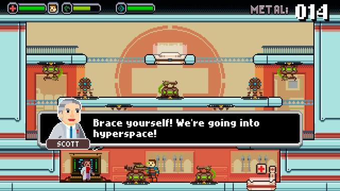 """Das Bild zeigt Dave, wie er sich auf den Hyperraum vorbereitet. Es handelt sich um eine Szene aus dem Spiel """"Spacejacked""""."""