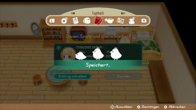 """Das Bild zeigt den Speicherbildschirm von """"Story of Seasons: Friends of Mineral Town""""."""