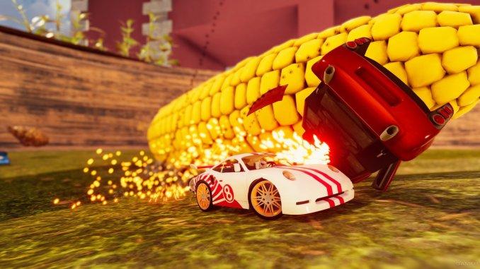 """Das Bild zeigt ein Miniatur-Auto aus dem Spiel """"Super Toy Cars 2"""", welches gerade von einem Maiskolben überrollt wird."""