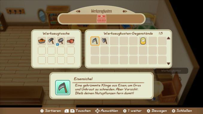 """Das Bild zeigt die Werkzeugtasche aus dem Spiel """"Story of Seasons: Friends of Mineral Town""""."""