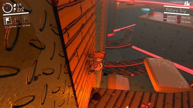 Das Bild zeigt die Protagonistin hängend an einer Wand.