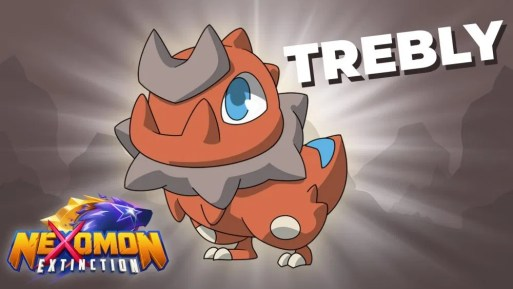 Das Bild zeigt ein dinosaurierähnliches Nexomon mit dem Namen Trebly.