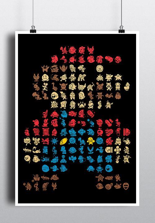 """Das Bild zeigt das """"Super Mario""""-Poster als zusätzlichen Gewinn von unserem Gewinnspiel."""