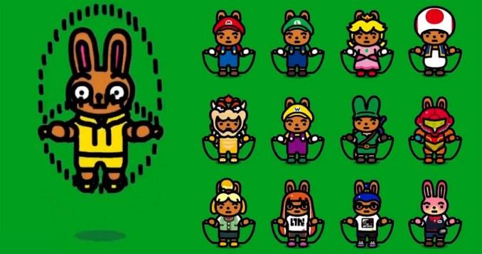 """Das Bild zeigt alle verfügbaren Kostüme in """"Jump Rope Challenge""""."""