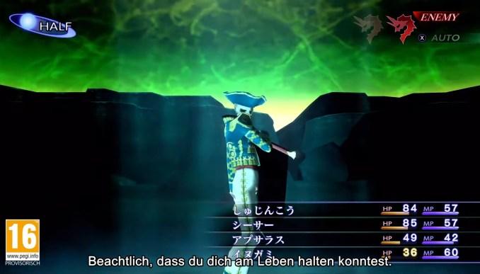 """Das Bild zeigt einen Kampf gegen einen Dämonen in """"Shin Megami Tensei III: Nocturne HD Remaster""""."""